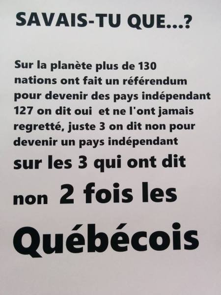 130 nations ont fait un référendum sur l'indépendance