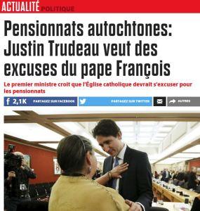 Justin Trudeau veut des excuses du Pape